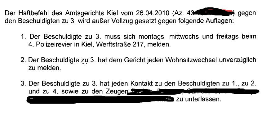 Haftbefehlsaufhebung durch das Landgericht Kiel